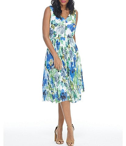 Maggy London Petite Size Floral V-Neck Pleated Dress