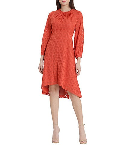 Maggy London Petite Size Long Sleeve Shirred Crew Neck Burnout High-Low Dress