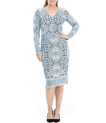 Maggy London Petite Size Long Sleeve V-Neck Printed Sheath Dress