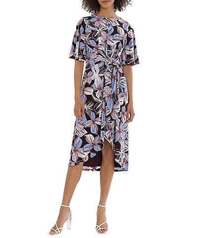 Maggy London Petite Size Floral Printed Short Flutter Sleeve High-Low Wrap Dress