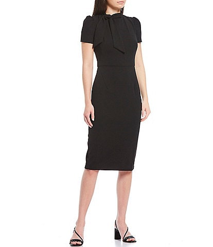 Maggy London Petite Size Tie Neck Puff Sleeve Stretch Crepe Sheath Dress