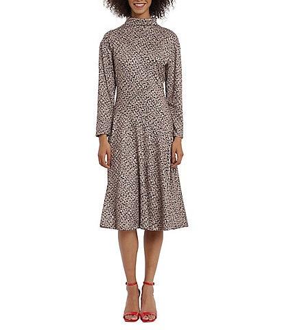 Maggy London Petite Size Tweed Asymmetric Drop Waist Long Sleeve Mock Neck Dress