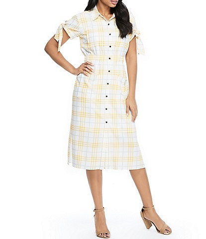 Maggy London Picnic Plaid Tie Sleeve Midi Shirt Dress