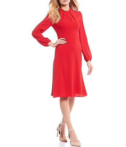 Maggy London Pleated Neck Crepe Long Sleeve A-Line Dress