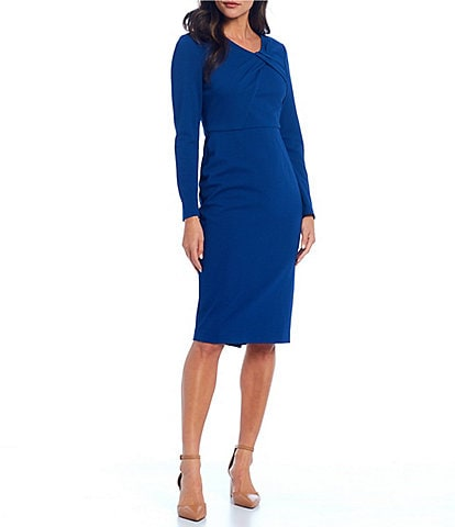 Maggy London Pleated Twist Neck Long Sleeve Herringbone Stretch Crepe Midi Sheath Dress