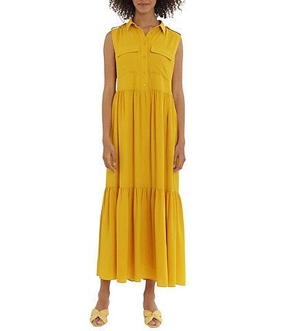Maggy London Point Collar Sleeveless Maxi Button Front Shirt Dress
