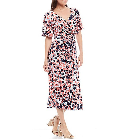 Maggy London Printed Matte Jersey Short Sleeve Faux Wrap Midi Dress