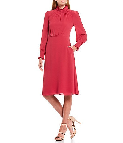 Maggy London Ruffle Mock Neck Catalina Long Sleeve Shirred Waist Detail Crepe Dress