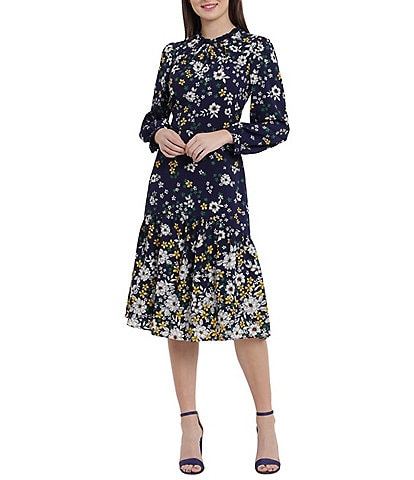 Maggy London Ruffle Mock Neck Floral Print Long Sleeve Midi Dress