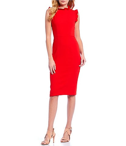 Maggy London Ruffle Mock Neck Midi Length Sheath Dress