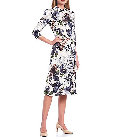 Maggy London Ruffle Neck Floral Charmeuse Midi Dress