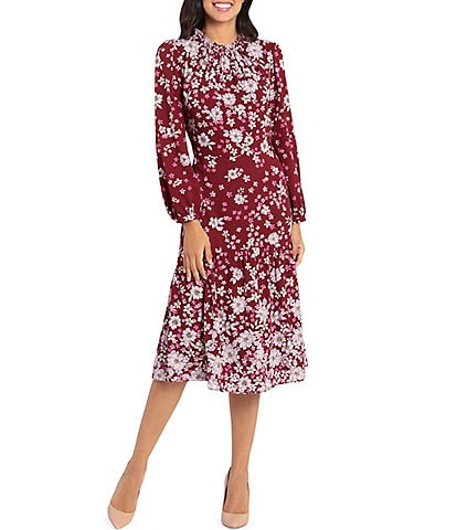 Maggy London Ruffle Neck Long Sleeve Floral Print Midi Dress