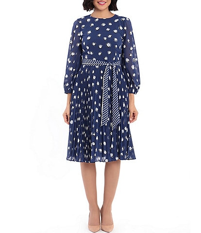 Maggy London Scarf Tie Belt Dotted Georgette Midi Dress