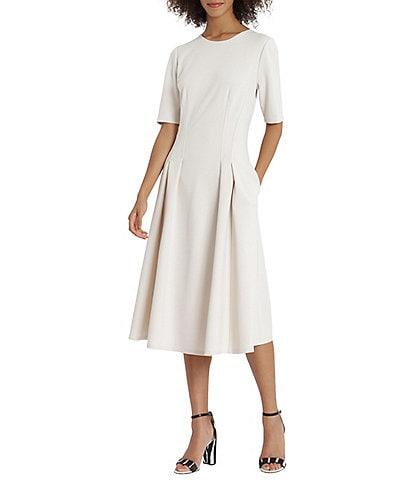 Maggy London Short Sleeve Crew Neck Double Pleat Stretch Crepe Midi A-Line Dress