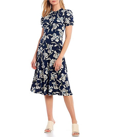 Maggy London Smocked Waist Floral Print Matte Jersey Midi Dress