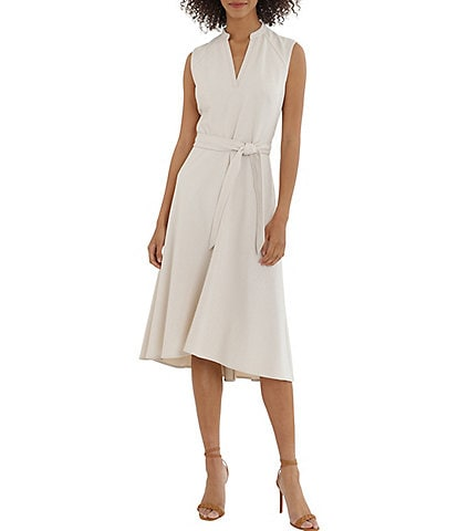 Maggy London Stretch Crepe A-Line V-Neck Sleeveless Belted Dress
