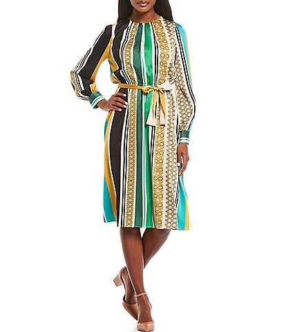 Maggy London Stripe Charmeuse Blouson Midi Dress
