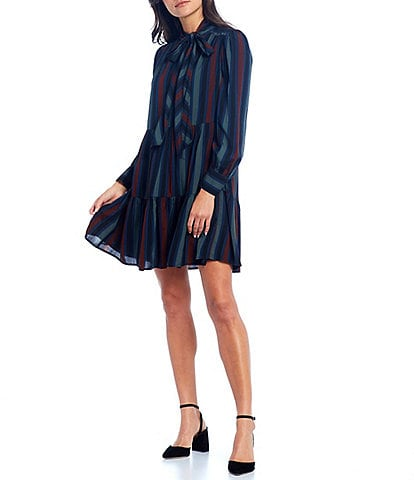 Maggy London Tie Neck Long Cuff Sleeve Striped Tiered Trapeze Dress