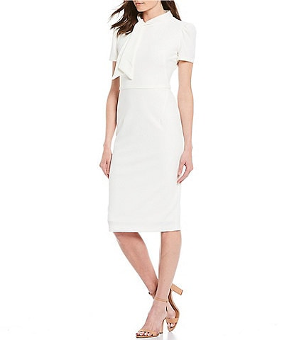 Maggy London Tie Neck Puff Sleeve Stretch Crepe Sheath Dress