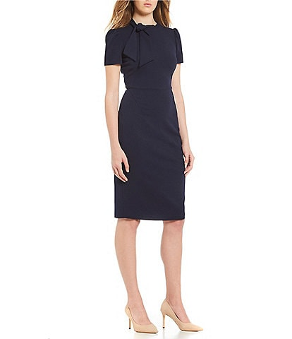 Maggy London Tie Neck Short Sleeve Sheath Dress