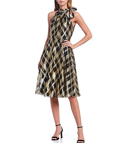 Maggy London Tie Neck Sleeveless Metallic Plaid Chiffon Midi Dress