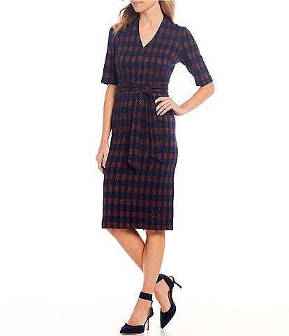 Maggy London V-Neck Stretch Metallic Knit Tie Waist Plaid Midi Dress