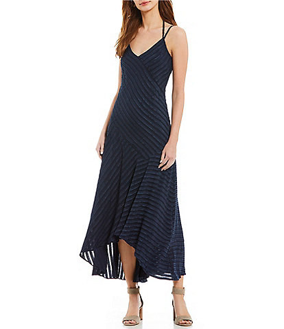 Maggy London Wrap Burnout Stripe Cross Over Midi Dress