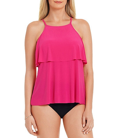 Magicsuit Solids Julia Ruffle Underwire Tankini Swimsuit Top & Solid Jersey Brief Shirred Swim Bottom