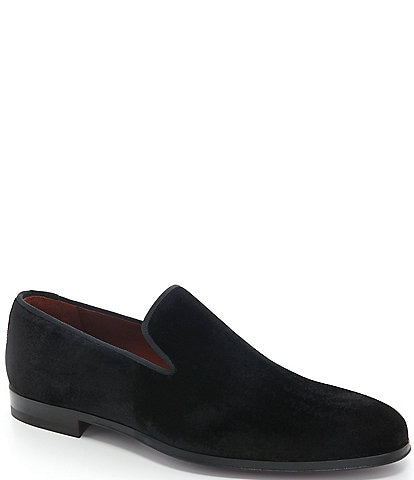 Magnanni Men's Dorio Venetian Velvet Grosgrain Piping Slip-On Loafers