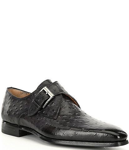 Magnanni Men's Crosley Monk Strap Ostrich Stamped Leather Dress Shoes