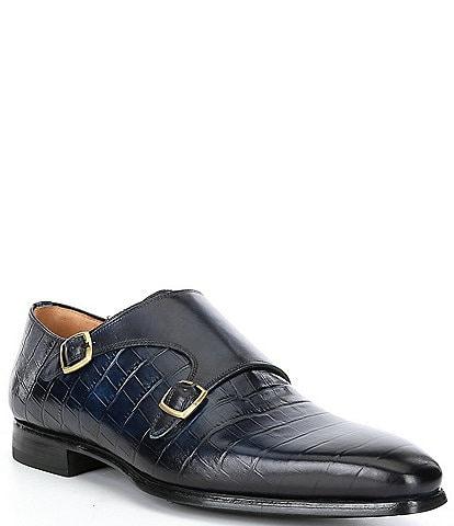 Magnanni Men's Oriol Double Monk Strap Croco Print Leather Oxfords