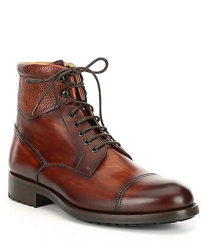 Magnanni Men's Peyton Leather Cap Toe Boot