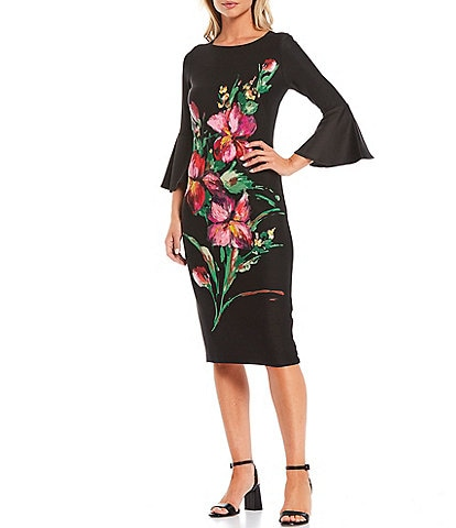 Maison Tara 3/4 Bell Sleeve Floral Printed Scuba Midi Sheath Dress