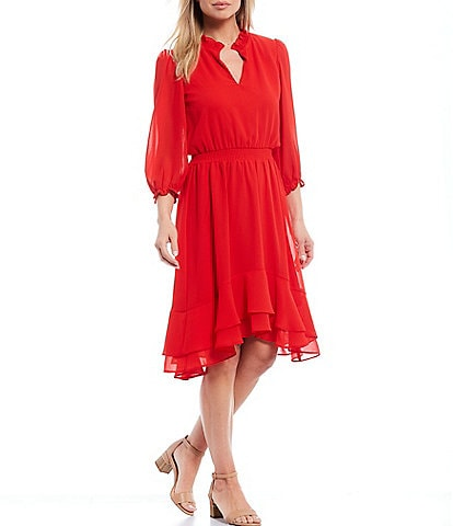 Maison Tara 3/4 Sleeve Georgette Hi-Low Ruffle Midi Dress