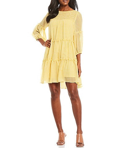 Maison Tara Balloon Sleeve Chiffon Checkered Tiered Smocked Dress