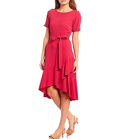 Maison Tara Faux Wrap Ruffle Hem Crepe Dress