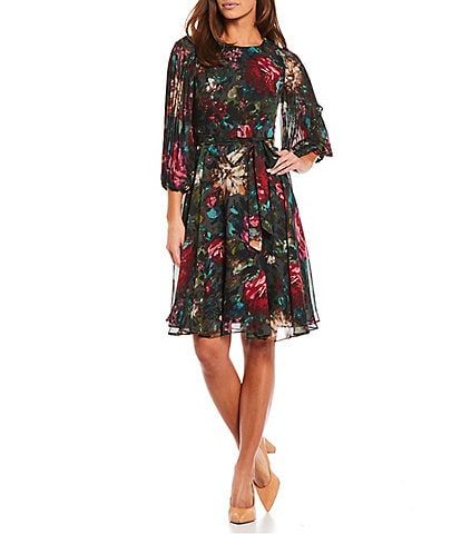Maison Tara Floral Chiffon Crew Neck Long Sleeve Fit and Flare Dress
