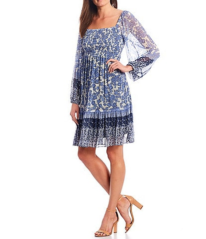 Maison Tara Long Raglan Sleeve Mixed Print Smocked Square Neck Dress