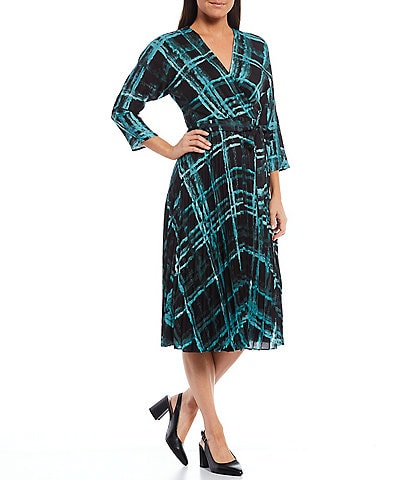 Maison Tara Plaid Sunburst Pleat 3/4 Sleeve Satin Midi Dress