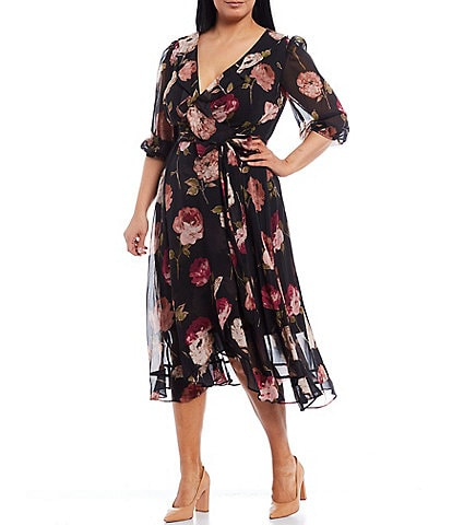 Maison Tara Plus Size 3/4 Balloon Sleeve Floral Chiffon Wrap Midi Dress