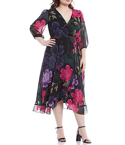 Maison Tara Plus Size 3/4 Balloon Sleeve Floral Silky Chiffon Wrap Dress