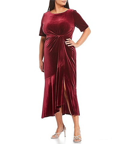 Maison Tara Plus Size Elbow Sleeve Velvet Asymmetrical Ruffle Front Midi Dress