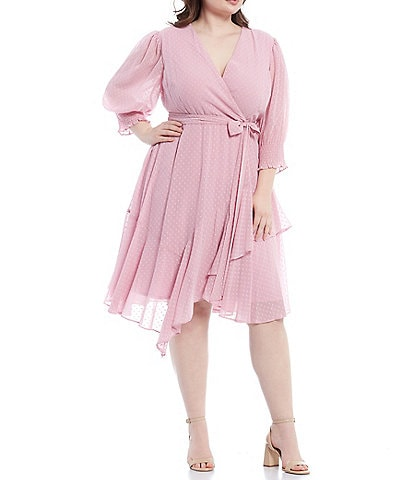 Maison Tara Plus Size Mini Dot Ruffle Hem Chiffon A-Line Dress