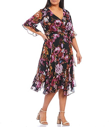 Maison Tara Plus Size V-Neck Elbow Sleeve Ruffle Hem Floral Midi Dress