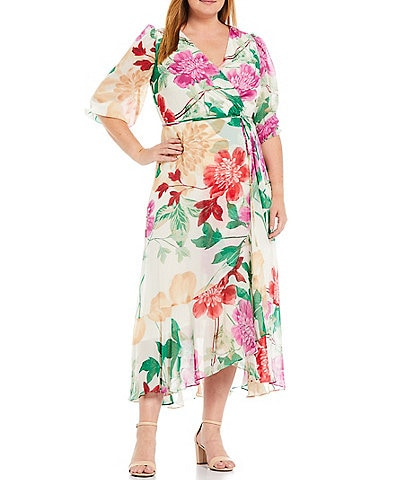 Maison Tara Plus Size Surplice V-Neck Balloon Sleeve Floral Wrap Maxi Dress