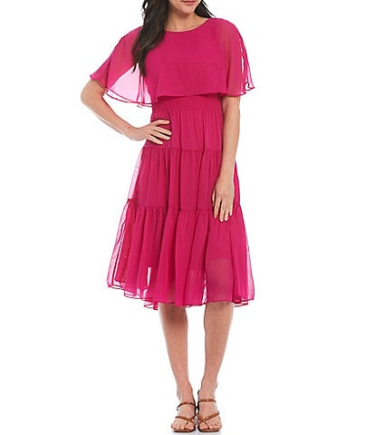 Maison Tara Short Sleeve Chiffon Capelet Tiered Dress