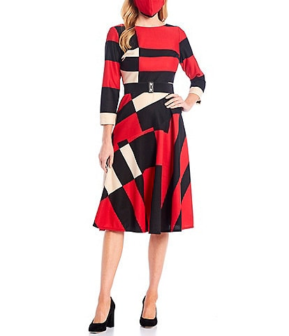 Maison Tara Textured Knit Belted Crew Neck 3/4 Sleeve Color Block Fit and Flare Dress