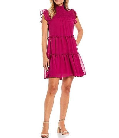 Maison Tara Tiered Flutter Cap Sleeve Tiered Trapeze Dress