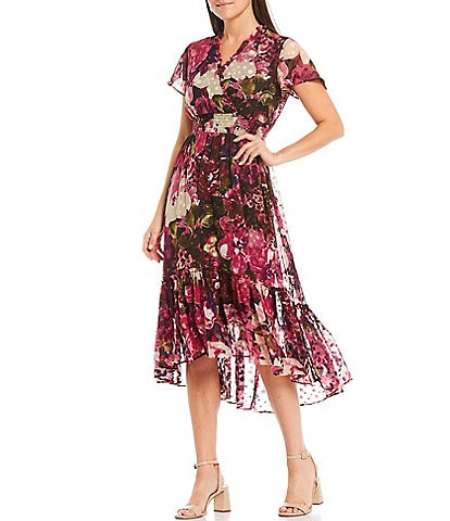 Maison Tara V-Neck Flutter Sleeve Floral Clip Dot Chiffon Midi Dress