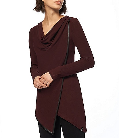 Marc New York Asymmetric Hem Drape Neck Long Sleeve Thermal Knit Tunic